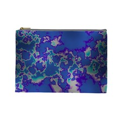 Unique Marbled Blue Cosmetic Bag (large)