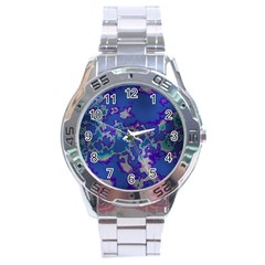 Unique Marbled Blue Stainless Steel Men s Watch