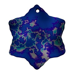 Unique Marbled Blue Snowflake Ornament (2 Side)