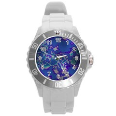 Unique Marbled Blue Round Plastic Sport Watch (l)