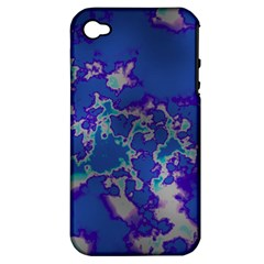 Unique Marbled Blue Apple Iphone 4/4s Hardshell Case (pc+silicone)