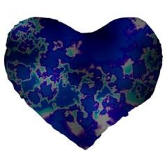 Unique Marbled Blue Large 19  Premium Heart Shape Cushions