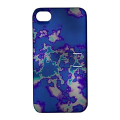 Unique Marbled Blue Apple Iphone 4/4s Hardshell Case With Stand