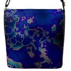 Unique Marbled Blue Flap Messenger Bag (s)