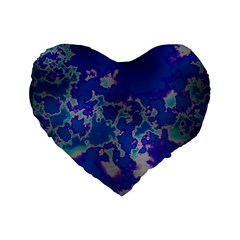 Unique Marbled Blue Standard 16  Premium Flano Heart Shape Cushions