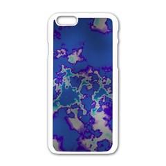 Unique Marbled Blue Apple Iphone 6/6s White Enamel Case