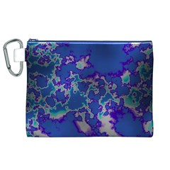 Unique Marbled Blue Canvas Cosmetic Bag (XL)