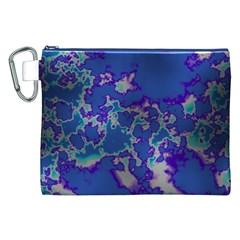 Unique Marbled Blue Canvas Cosmetic Bag (xxl)
