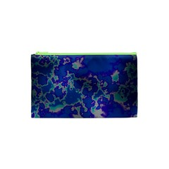 Unique Marbled Blue Cosmetic Bag (xs)