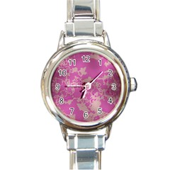 Unique Marbled Pink Round Italian Charm Watches