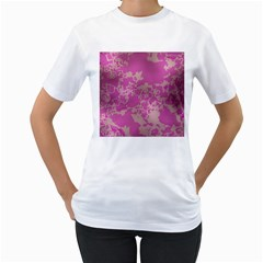 Unique Marbled Pink Women s T Shirt (white) (two Sided)