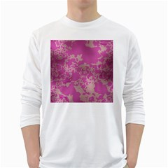 Unique Marbled Pink White Long Sleeve T Shirts