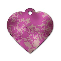 Unique Marbled Pink Dog Tag Heart (Two Sides)