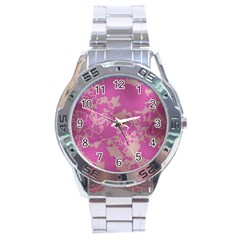 Unique Marbled Pink Stainless Steel Men s Watch