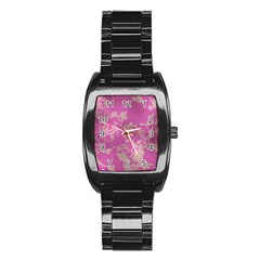 Unique Marbled Pink Stainless Steel Barrel Watch