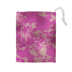 Unique Marbled Pink Drawstring Pouches (Large)