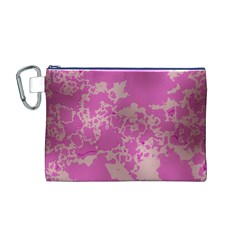 Unique Marbled Pink Canvas Cosmetic Bag (M)