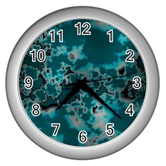 Unique Marbled Teal Wall Clocks (silver)