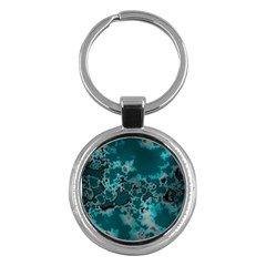 Unique Marbled Teal Key Chains (round)