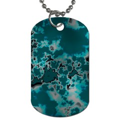 Unique Marbled Teal Dog Tag (two Sides)
