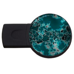 Unique Marbled Teal Usb Flash Drive Round (2 Gb)