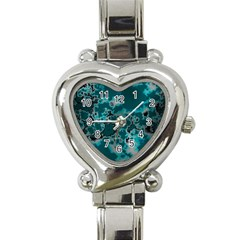 Unique Marbled Teal Heart Italian Charm Watch