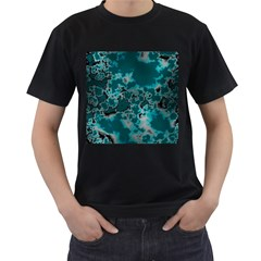 Unique Marbled Teal Men s T Shirt (black) (two Sided)
