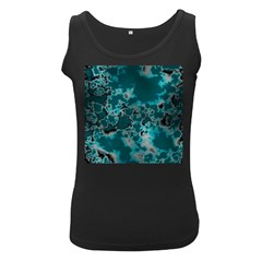 Unique Marbled Teal Women s Black Tank Tops