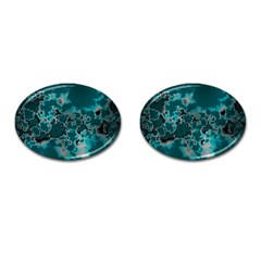 Unique Marbled Teal Cufflinks (oval)