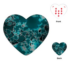 Unique Marbled Teal Playing Cards (heart)
