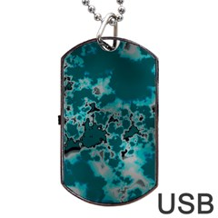 Unique Marbled Teal Dog Tag Usb Flash (two Sides)