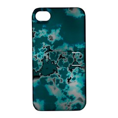 Unique Marbled Teal Apple iPhone 4/4S Hardshell Case with Stand