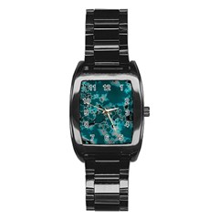 Unique Marbled Teal Stainless Steel Barrel Watch