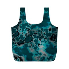 Unique Marbled Teal Full Print Recycle Bags (M)