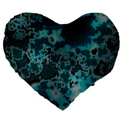Unique Marbled Teal Large 19  Premium Flano Heart Shape Cushions
