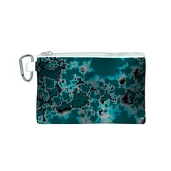 Unique Marbled Teal Canvas Cosmetic Bag (S)