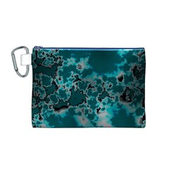 Unique Marbled Teal Canvas Cosmetic Bag (m)
