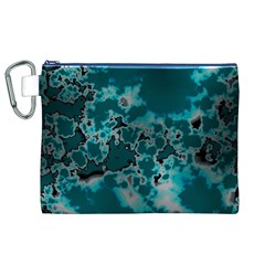 Unique Marbled Teal Canvas Cosmetic Bag (xl)