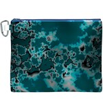 Unique Marbled Teal Canvas Cosmetic Bag (XXXL)  Front