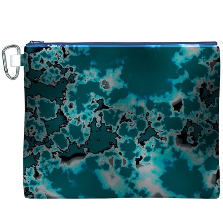 Unique Marbled Teal Canvas Cosmetic Bag (XXXL)