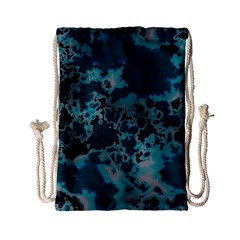 Unique Marbled Teal Drawstring Bag (Small)