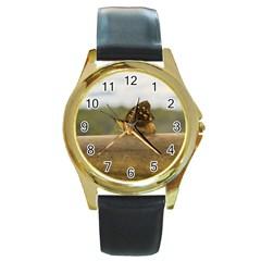 Butterfly against Blur Background at Iguazu Park Round Gold Metal Watches