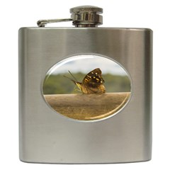 Butterfly against Blur Background at Iguazu Park Hip Flask (6 oz)