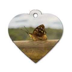 Butterfly against Blur Background at Iguazu Park Dog Tag Heart (Two Sides)