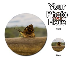 Butterfly Against Blur Background At Iguazu Park Multi Purpose Cards (round)