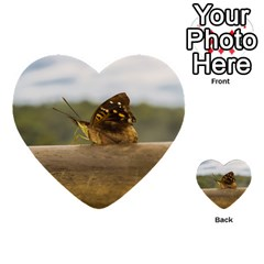 Butterfly Against Blur Background At Iguazu Park Multi Purpose Cards (heart)