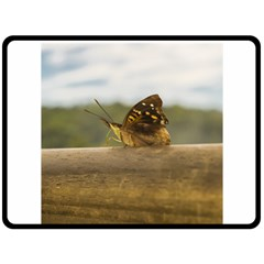 Butterfly against Blur Background at Iguazu Park Double Sided Fleece Blanket (Large)