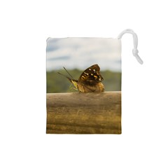 Butterfly against Blur Background at Iguazu Park Drawstring Pouches (Small)