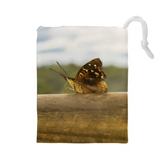 Butterfly against Blur Background at Iguazu Park Drawstring Pouches (Large)