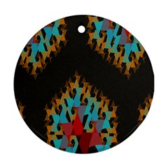 Blue, Gold, and Red Pattern Ornament (Round)